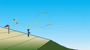8 1/4 de boucle très serrée tirée : ici on cabre fortement, Cz est élevé, 7° de volets baissés pour casser le moins possible la vitesse.