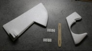 Prepare a 1.5mm plywood reinforcement for the rudder joint, with holes for 2 small hinges.