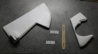 Préparer un renfort ctp 1.5mm pour l'articulation de dérive, avec des trous pour 2 petites charnières.