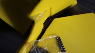 Holes are made with an mini milling cutter in the fixed part of rudder. This allows the insertion of lead BBs to move the center of gravity rearward.